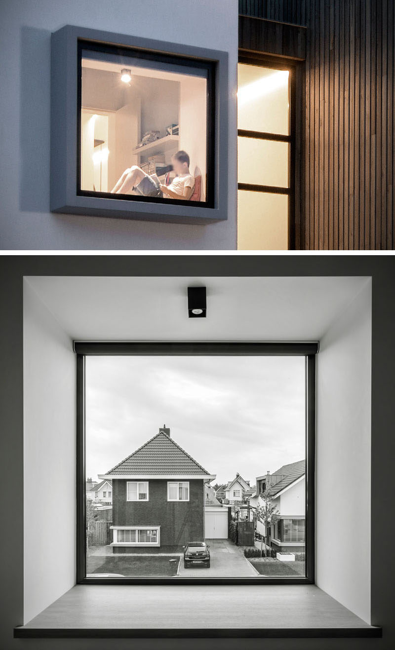 This home has a window that protrudes out from the house, making it large enough to have a deep window seat for someone to sit in.