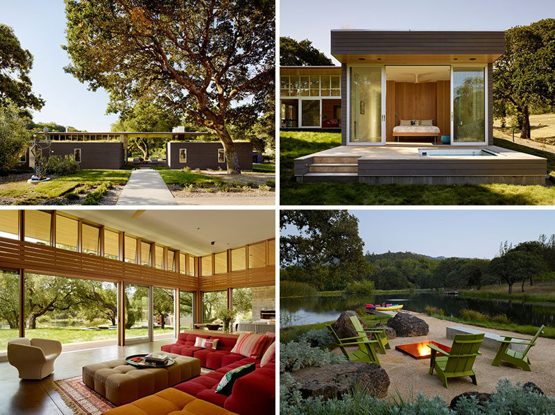 Tucked away in a meadow with oak trees and a pond, is this contemporary home located in Sonoma, California.