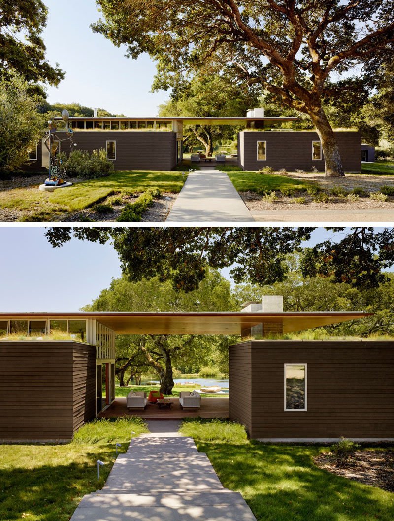 Tucked away in a meadow with oak trees and a small pond, is this contemporary home located in Sonoma, California.