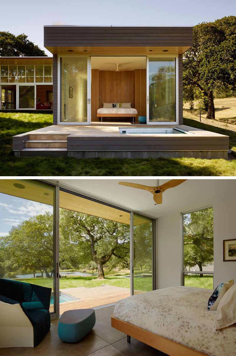 This bedroom opens directly to the backyard with sliding glass doors.