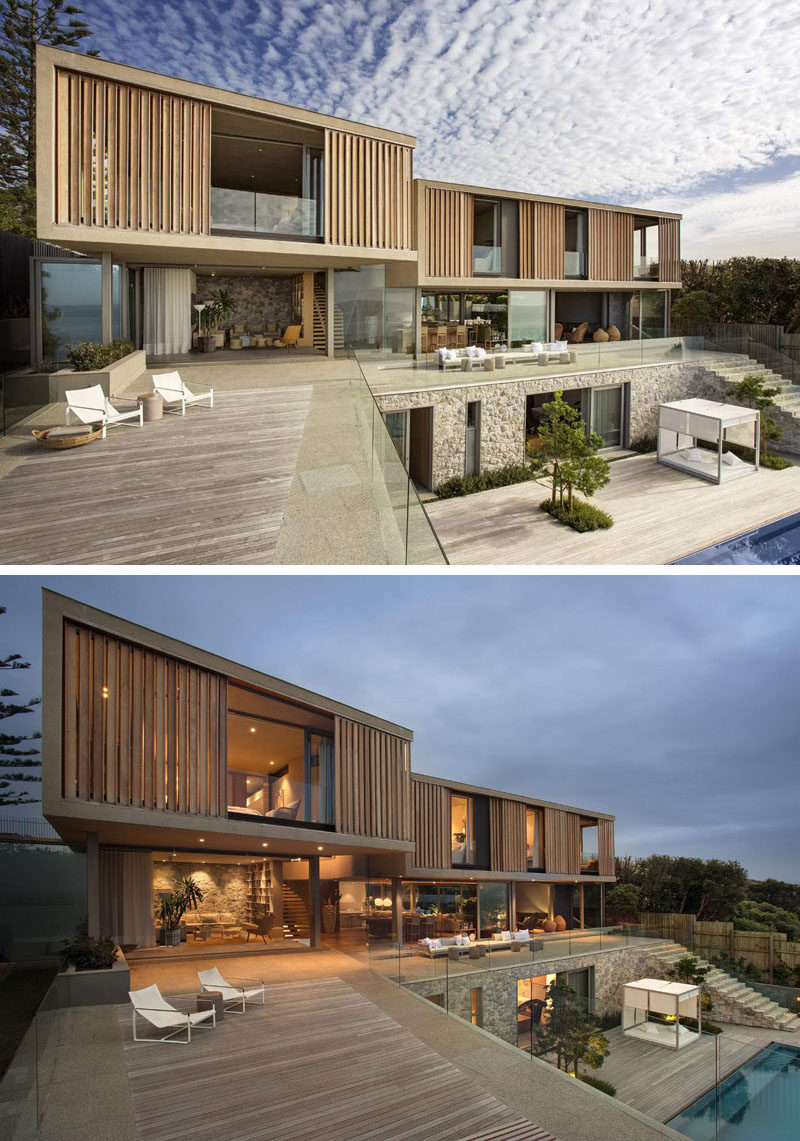 This house in South Africa house opens up to fully take advantage of the available outdoor space, with a swimming pool and covered outdoor lounge.