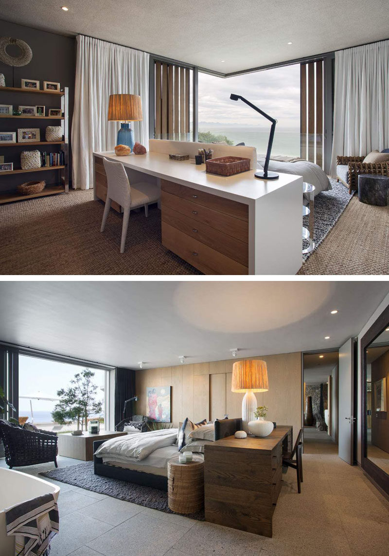 BEDROOM LAYOUT IDEA --- These two bedrooms have the bed positioned in the middle of the room, with each having desks located right behind the headboard of the bed, and facing the window.