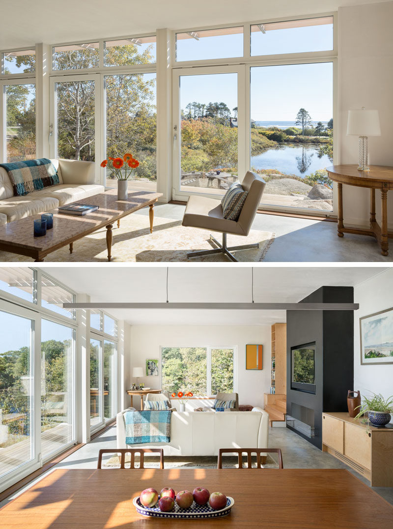 Inside this home, the living room, dining area and kitchen all share the same space, with views of the lily pond and ocean beyond.