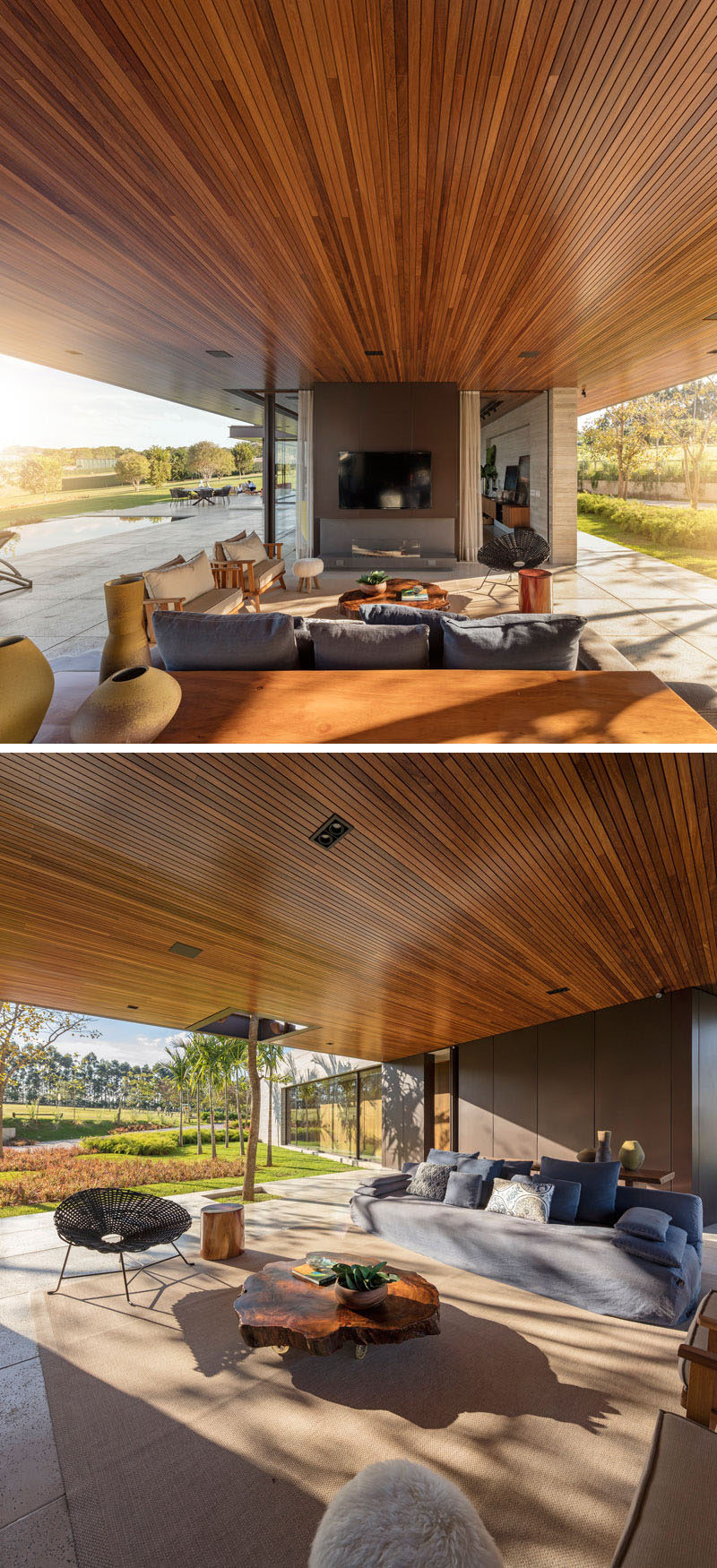Next to the swimming pool in this Brazilian home is an outdoor lounge area, with television and fireplace, and a wooden ceiling that travels the length of the house.