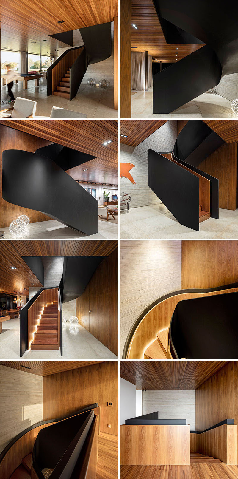 From many angles these stairs appear to just be a black staircase, however when looking at the interior of the stairs, you will see the stairs and handrail are actually wood. But that's not all, there's also lighting that wraps its way up the stairs, hidden between the stairs and the handrail.