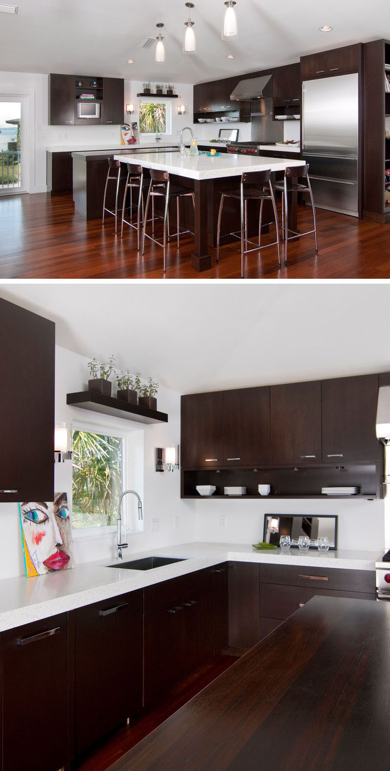 9 Inspirational Kitchens That Combine Dark Wood Cabinetry And White  Countertops // Despite The Dark
