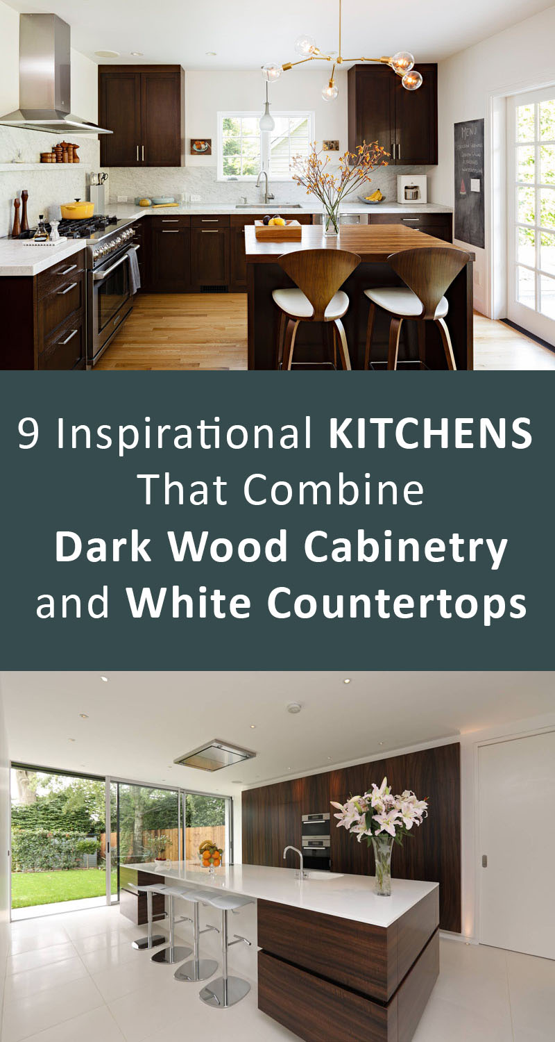 9 Inspirational Kitchens That Combine Dark Wood Cabinetry and White Countertops