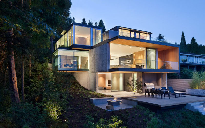 This Canadian home has the dining room projecting 15 feet out from the concrete foundation.