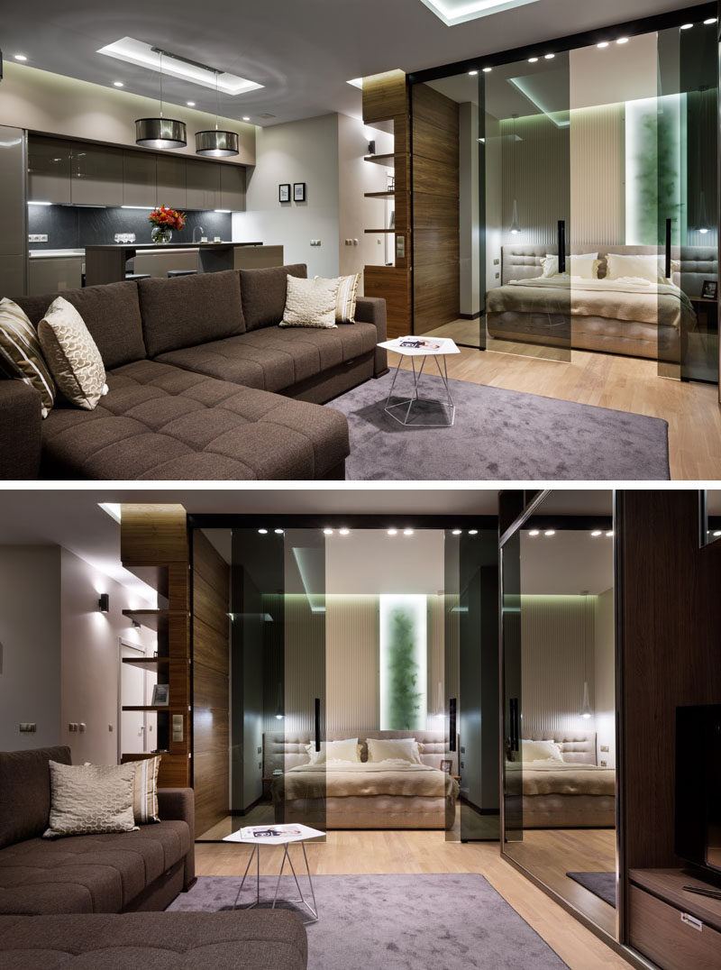 Glass Doors Define The Bedroom In This Small Apartment