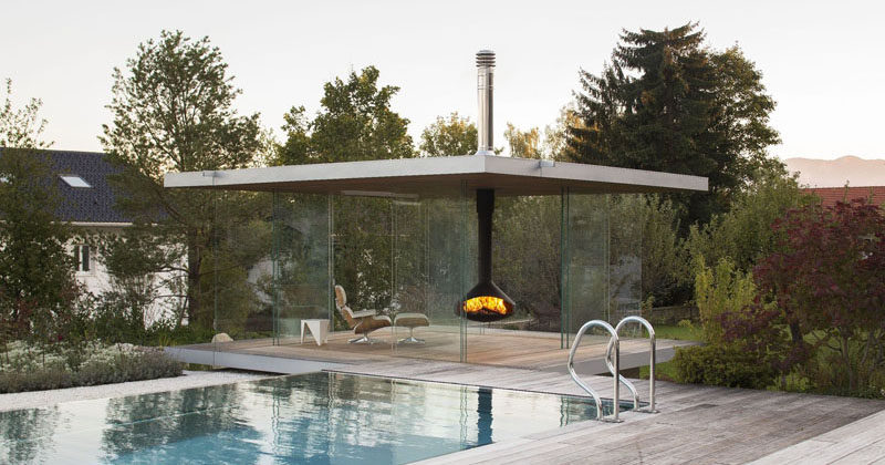 This Modern Pool House Is Surrounded By Glass,Island Elegant Kitchen Designs