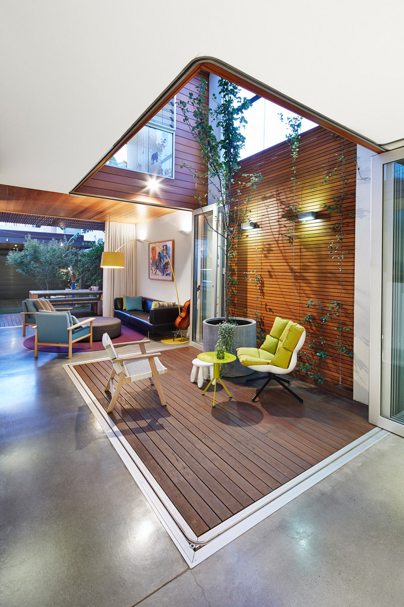 This Australian home has a small outdoor area that can be accessed from the interior of the home.