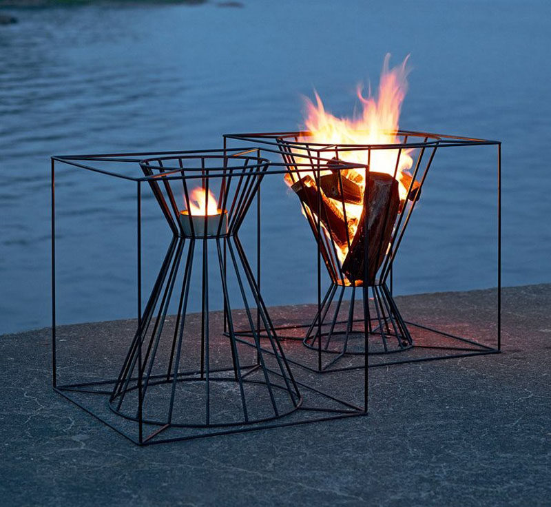 This black framed outdoor fire basket is perfect for summer nights.