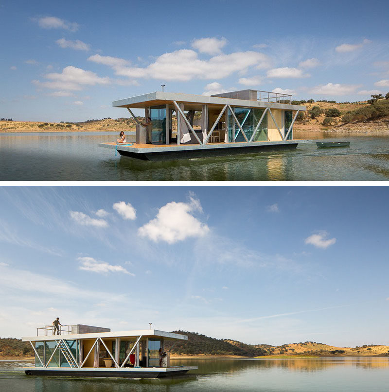 11 Awesome Examples Of Modern House Boats // Designed to be fit into two shipping containers, this houseboat can be sent anywhere around the world.