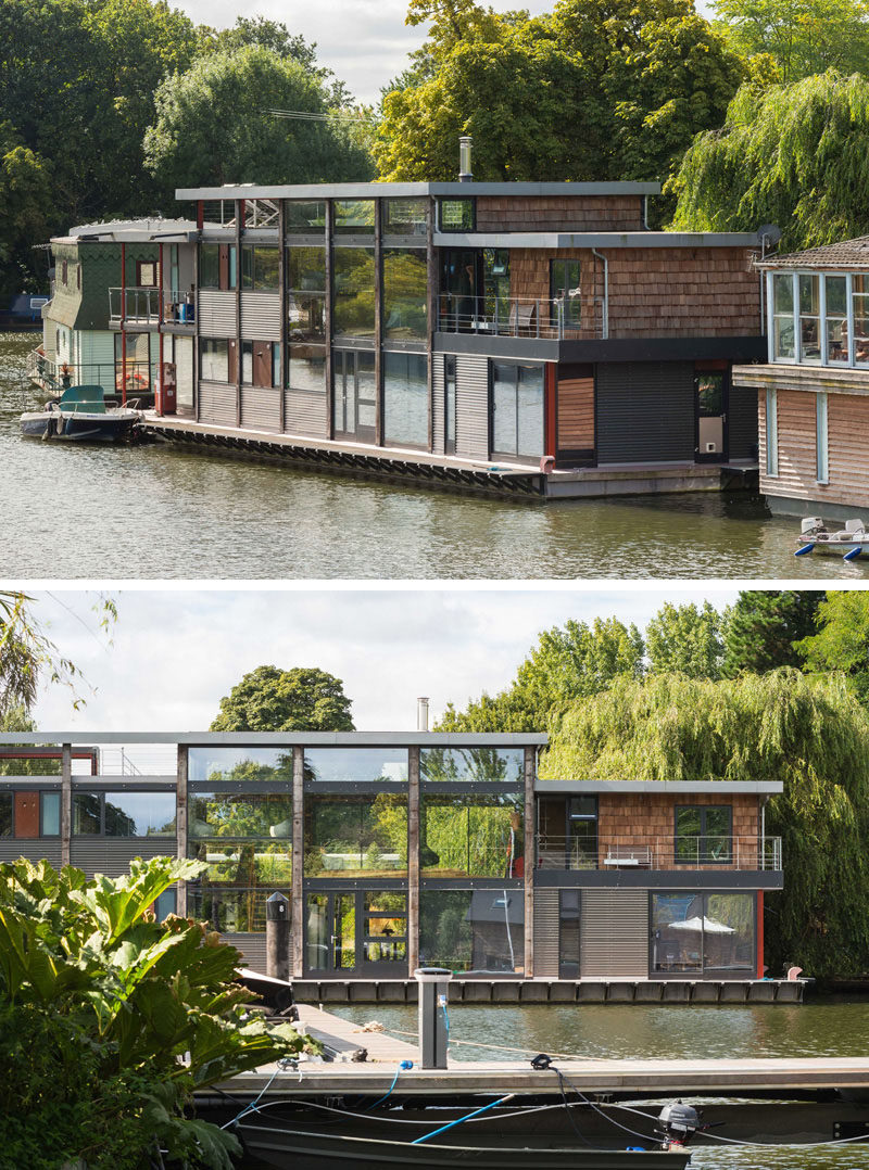 11 Awesome Examples Of Modern House Boats // This houseboat floats on the River Thames but also has gardens, a summerhouse and garage on the land behind it.