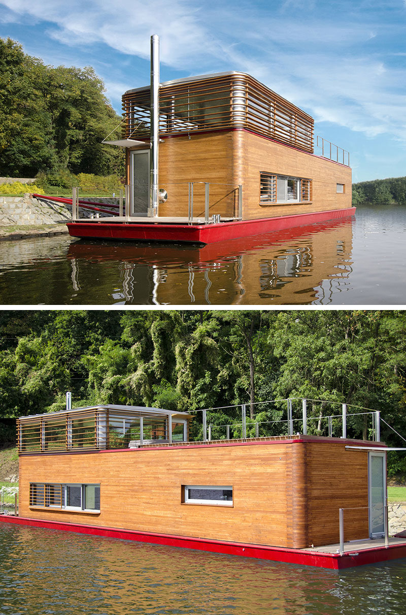 11 Awesome Examples Of Modern House Boats // Use of stainless steel beams and wood paneling help to regulate the climate inside the boat and allow for beautiful views without excess amounts of sun getting in.