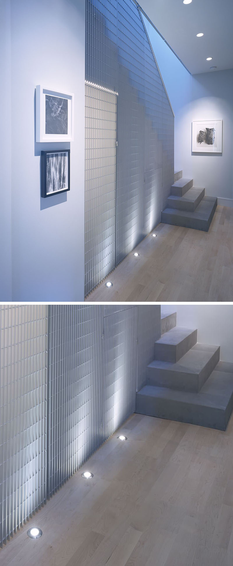 7 Interiors That Use Dramatic Uplighting To Brighten A Space // The lights beneath the grid-like wall in this home cast a cool light and make the texture on the wall more dramatic.