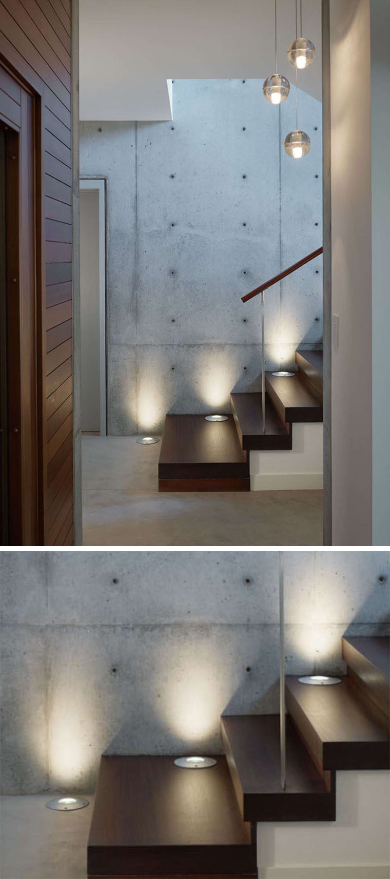 7 Interiors That Use Dramatic Uplighting To Brighten A Space // Embedded  lights guide people
