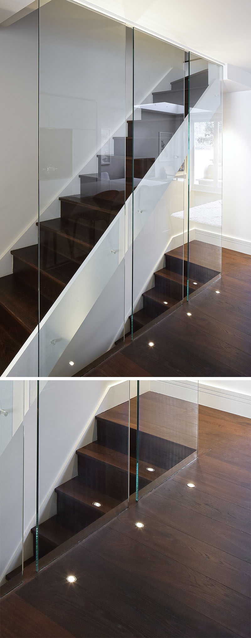 7 Interiors That Use Dramatic Uplighting To Brighten A Space // Small lights built in to the floor of this home brighten the dark wood floor and contribute to the modern feel of the staircase.