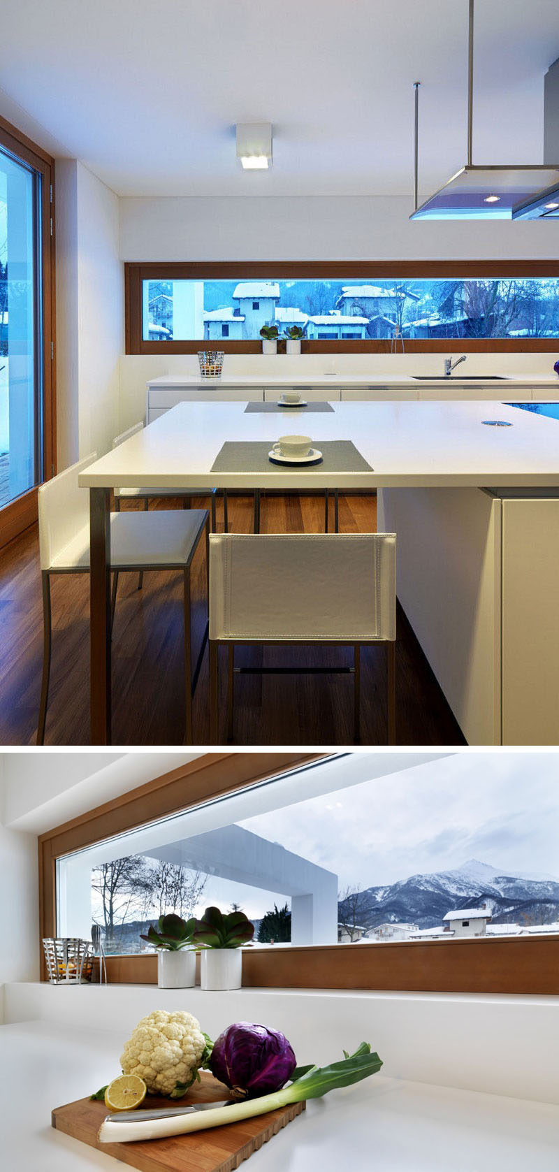 12 Inspirational Examples Of Letterbox Windows In Kitchens // This letterbox window sits just above the height of the counter and offers beautiful views of the mountains off in the distance.