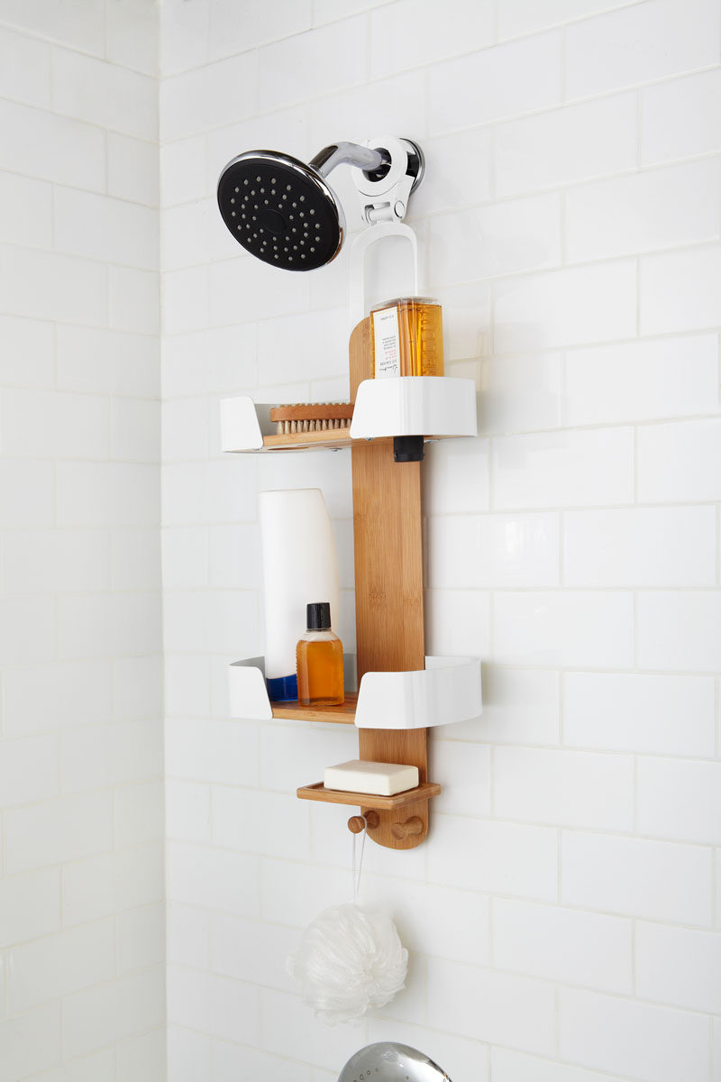 13 Ideas For Creating A More Manly, Masculine Bathroom // Keep all the shower products organized in style with a shower caddy that kind of resembles a skateboard.