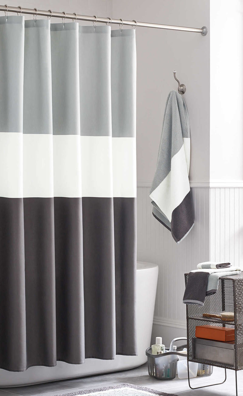 Manly, Masculine Bathroom // A simple color blocked shower curtain ...