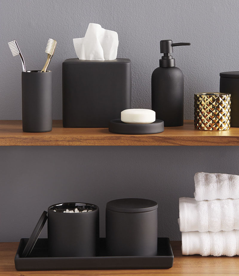 13 ideas for creating a more manly masculine bathroom for Black white bathroom set
