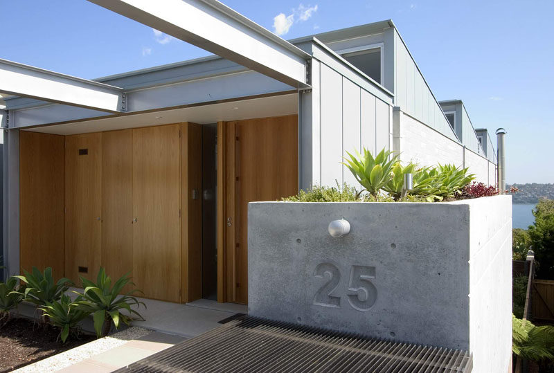 Having your house number imprinted into a concrete block is a unique way to display your address and increases your curb appeal. #ModernHouseNumber #HouseNumbers #HomeDecor
