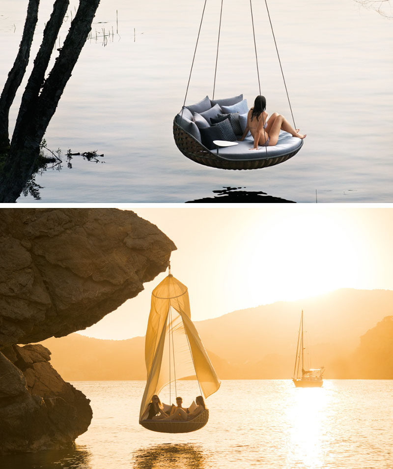 12 Outdoor Furniture Designs That Add A Sculptural Element To Your Backyard // This large, hanging lounger, encourages you to enjoy nature while gently swaying along with the breeze.