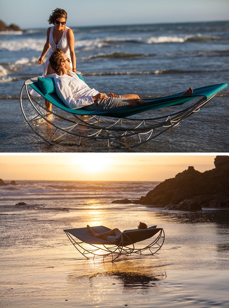 12 Outdoor Furniture Designs That Add A Sculptural Element To Your Backyard // Rock yourself into relaxation and rejuvenation on this rocking chair by Sveglio.