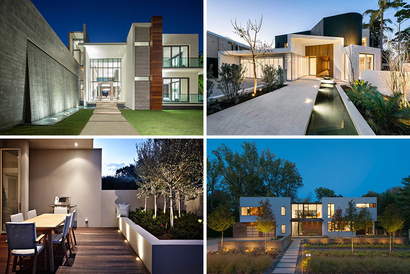 17 inspiring examples of exterior uplighting on houses contemporist 17 inspiring examples where exterior uplighting has been used to show off a house aloadofball Images