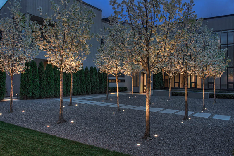 17 Inspiring Examples Where Exterior Uplighting Has Been Used To Show Off A House // Two lights placed on either side of each tree in the courtyard of this entry way illuminate the undersides of the trees and brightens the path leading to the front door.