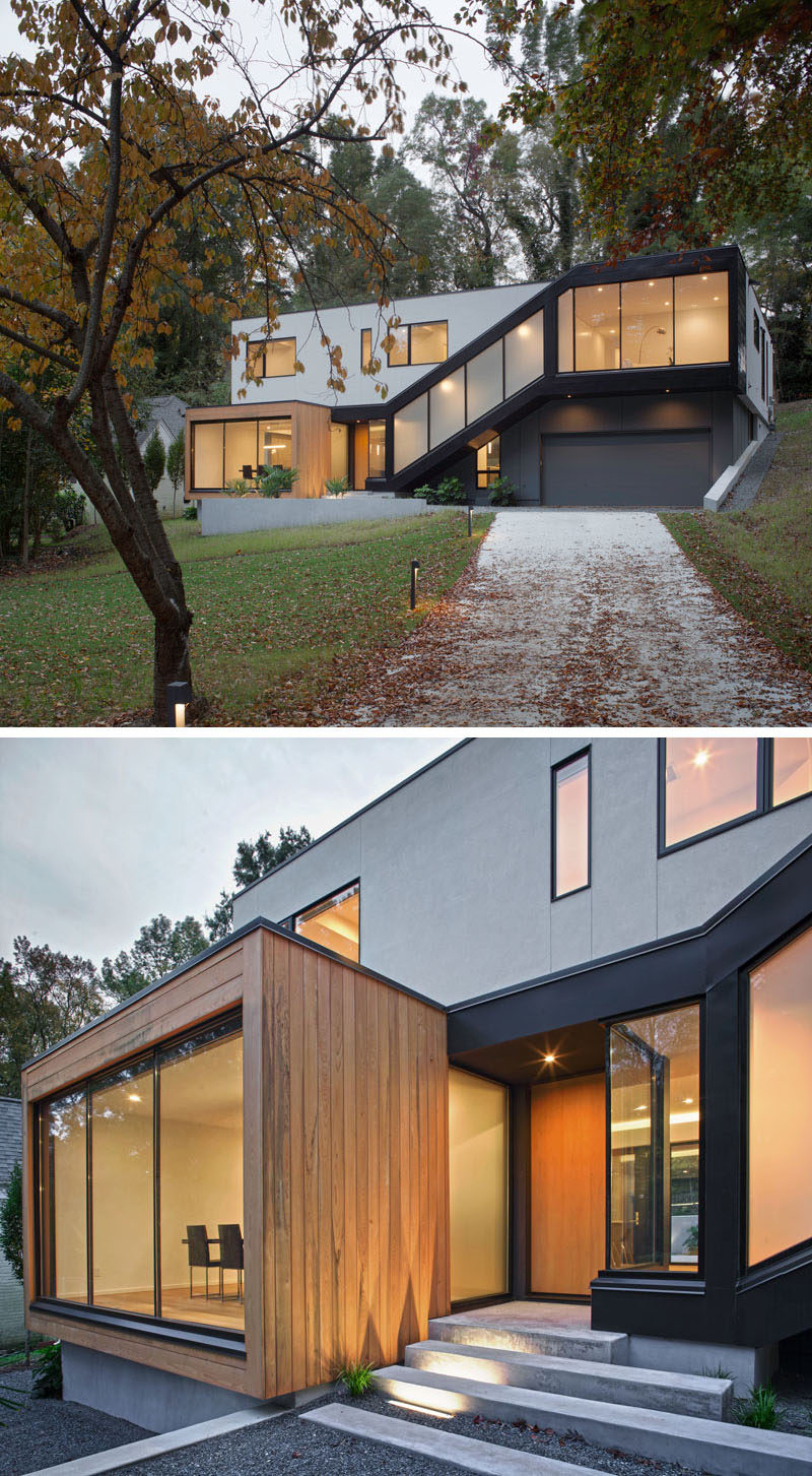 17 Inspiring Examples Where Exterior Uplighting Has Been Used To Show Off A House // Lights built into the entry way stairs of this home add safety and style to the front of the house.