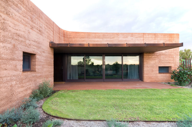 A natural rammed earth wall.