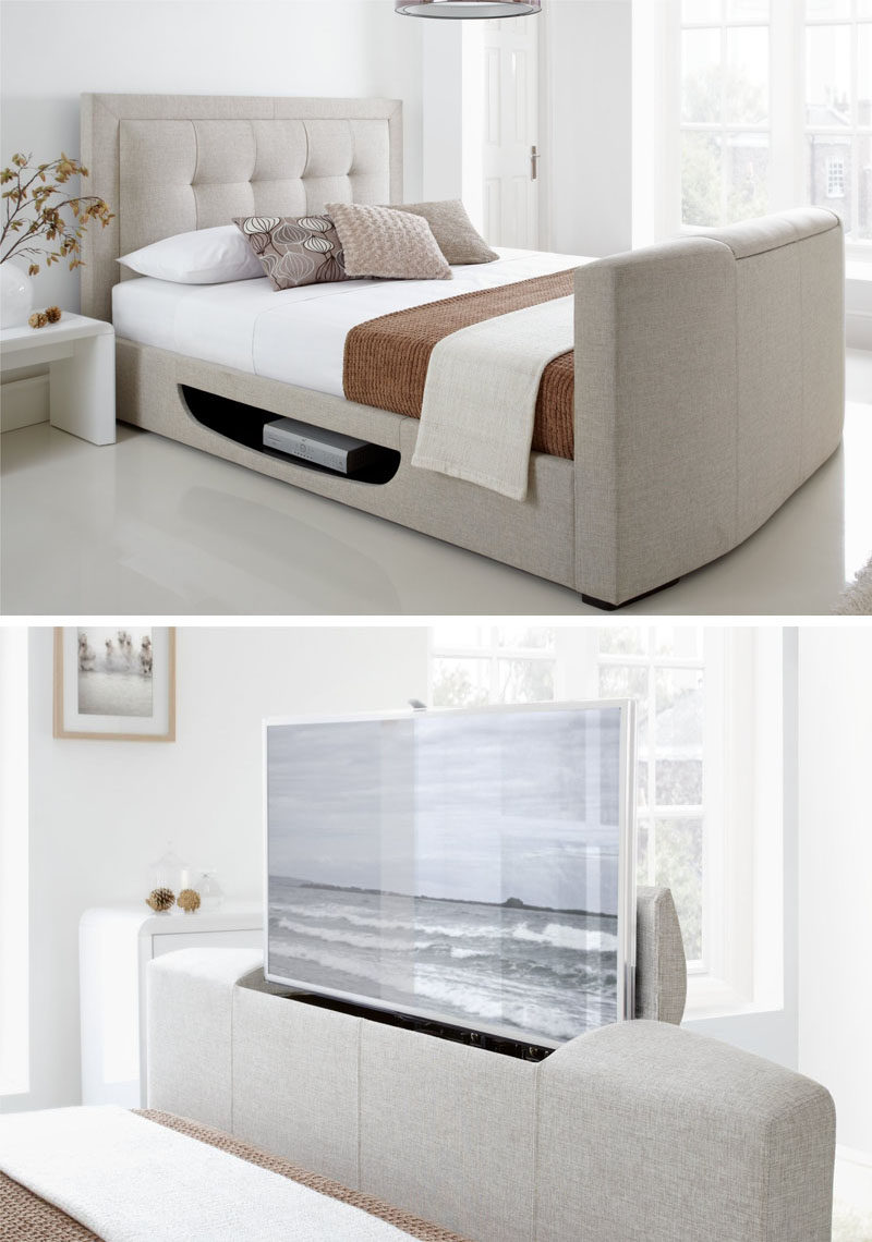 7 Ideas For Hiding A TV In A Bedroom // The TV at the end of this bed is hidden inside the actual bed and even has a built in spot for a DVR or Blu Ray player.