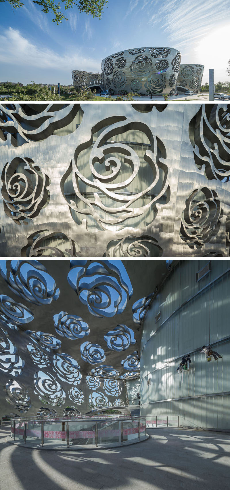 The world's first Rose Museum has opened in Beijing, China, and it's covered by a stainless steel facade that measures in at 984 ft (300m) long and 55ft (17m) high and is perforated by a rose-shaped pattern.