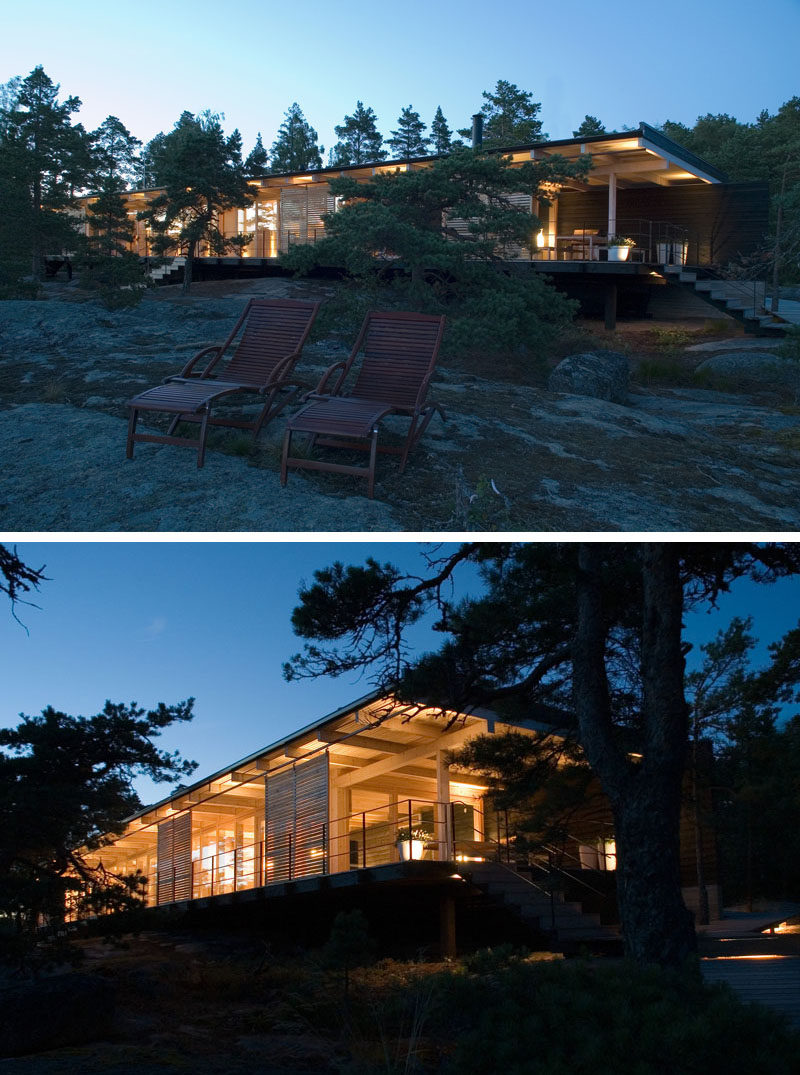 Designed by Sigge Arkkitehdit Oy, the cottage was created to be as low and as discreet as possible, but at the same time allowing for views of the landscape.