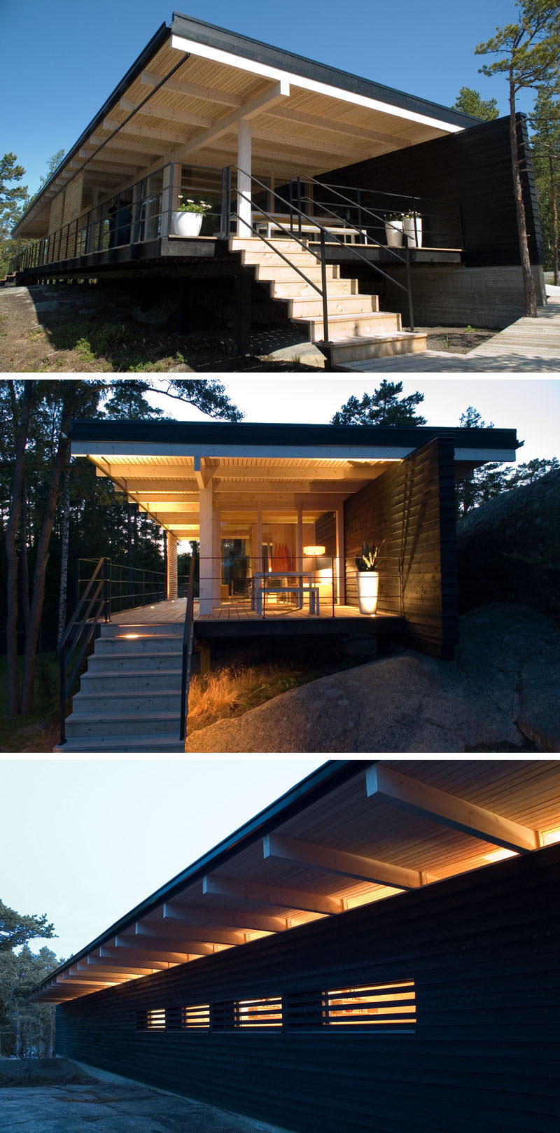 This year-round cottage is constructed from prefabricated parts made of Finnish timber and are framed according to a modular system. One side of the cottage is open to the view, while the back wall is stained black.