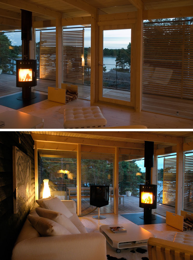 This cottage in Finland has sea views from the living room. A fireplace is included in the living room to keep warm in the winter months.