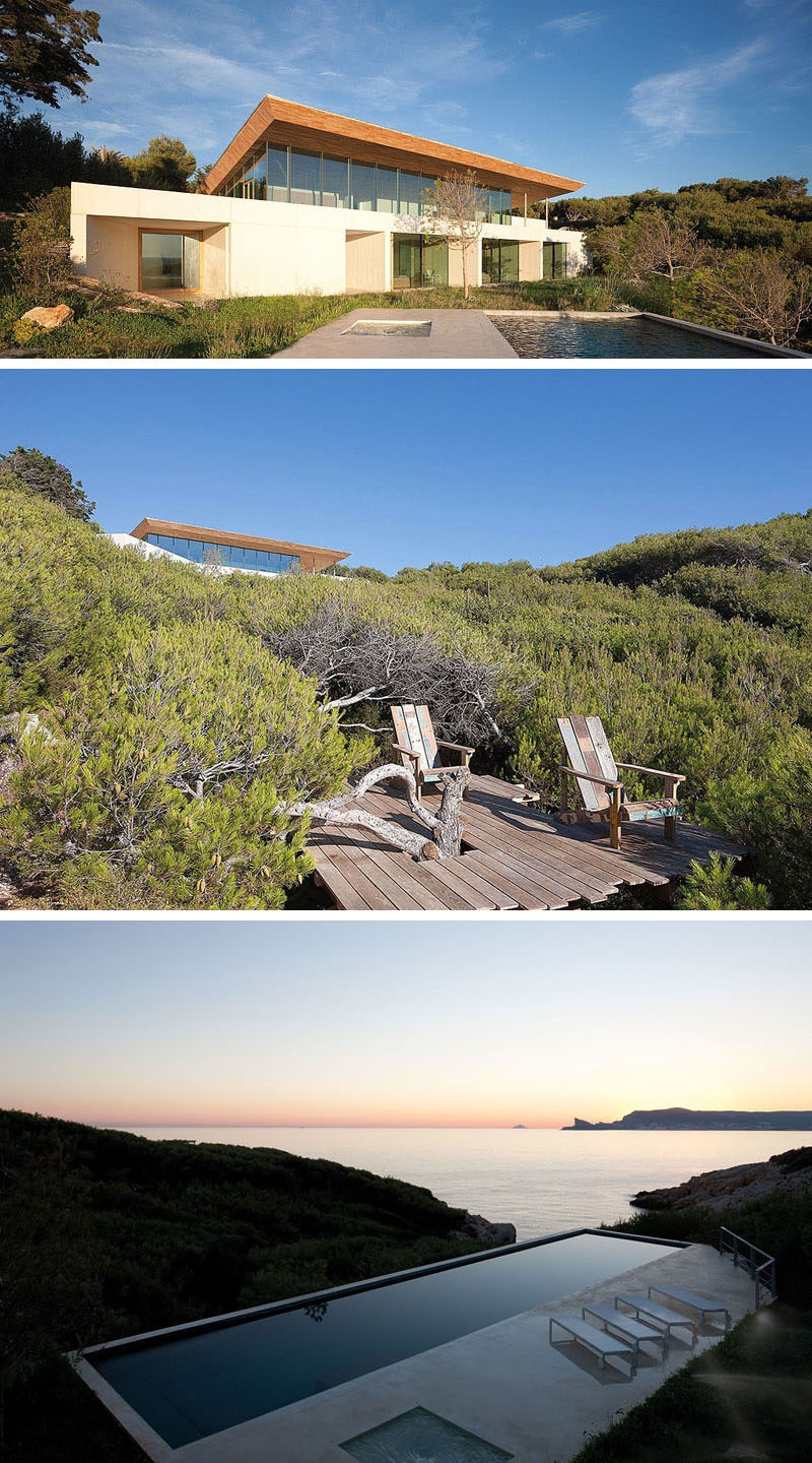 13 Totally Secluded Homes To Escape From The World // Along the coast of France is the secluded ALON house by AABE. With floor to ceiling windows along the back of the house and uninterrupted views of the ocean and surrounding landscape, this house provides an ideal escape from hectic everyday living.