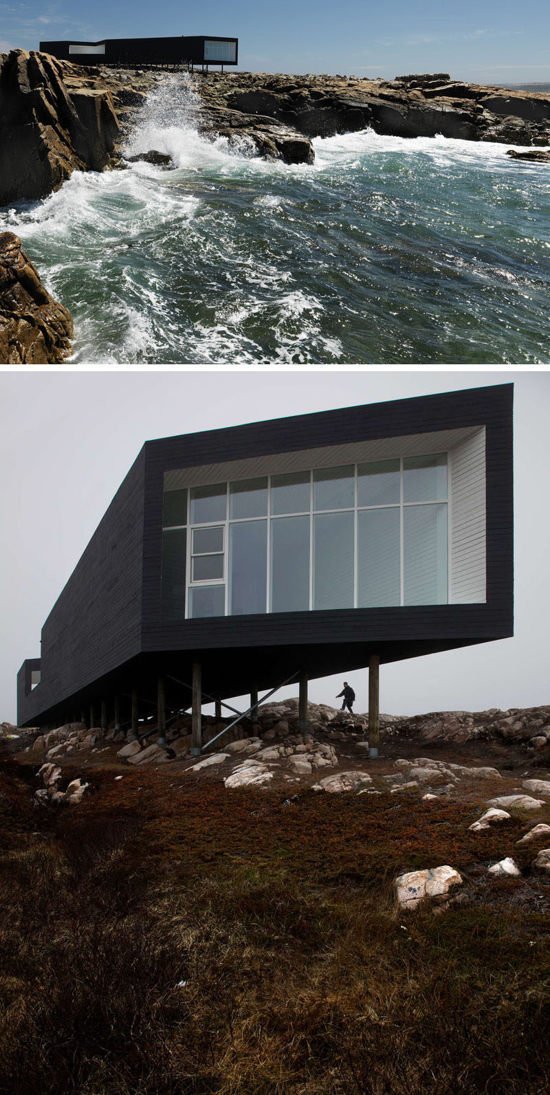 13 Totally Secluded Homes To Escape From The World // Off the coast of Newfoundland, Canada, on a tiny island called Fogo, sits a studio created by Saunders Architecture.