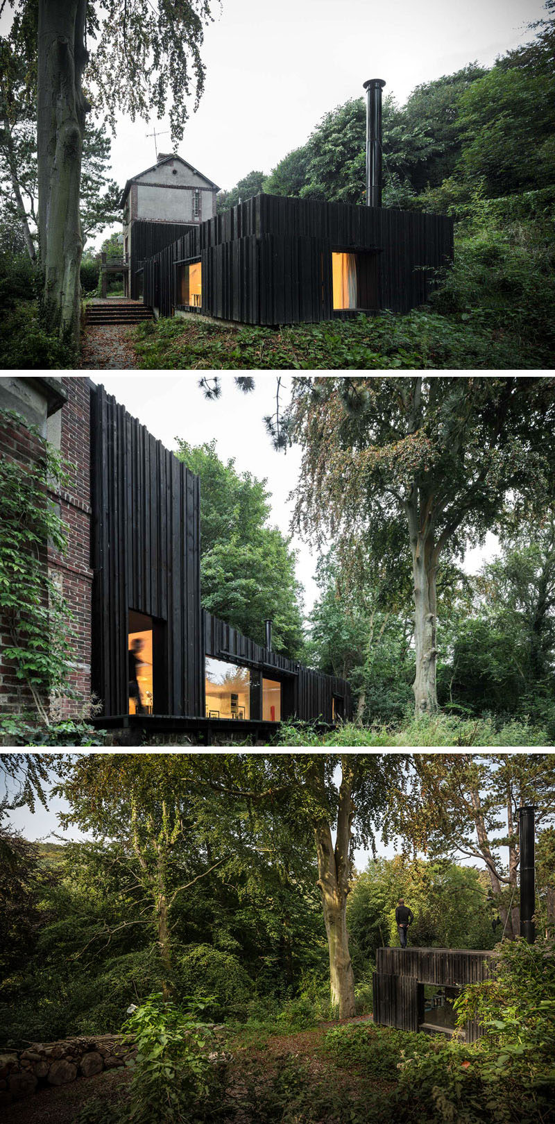 13 Totally Secluded Homes To Escape From The World // Tucked into a forest in Normandy, France, is this modest house that provides comfort and ultimate privacy.