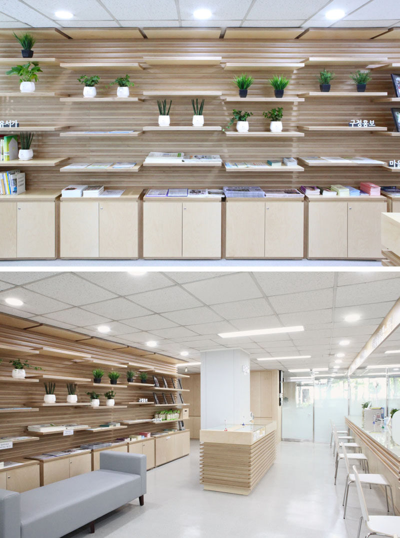 SHELVING IDEA - Wooden Slat Wall With Movable Shelves