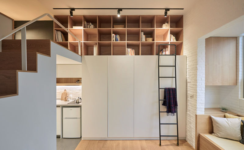 This tiny apartment in Taiwan makes use of every space possible and has a mezzanine for the bedroom.