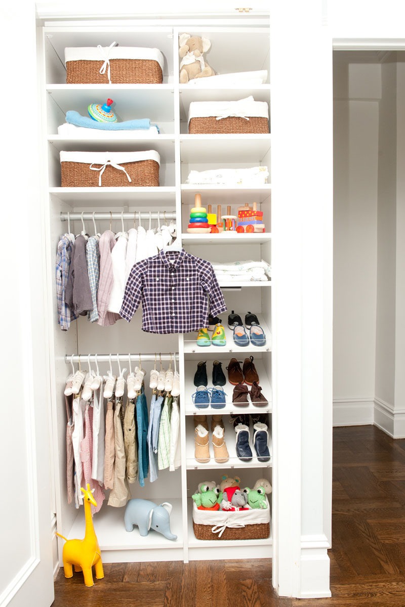 9 Storage Ideas For Small Closets // Rods for hanging clothes and multiple shelves let you make the most of each and every inch of valuable closet space.