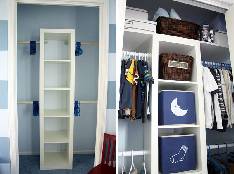 9 Storage Ideas For Small Closets // Having rods at different heights allows you hang more of your clothes, allowing you to fit more in, and keeps them more visible than if they were kept in drawers.
