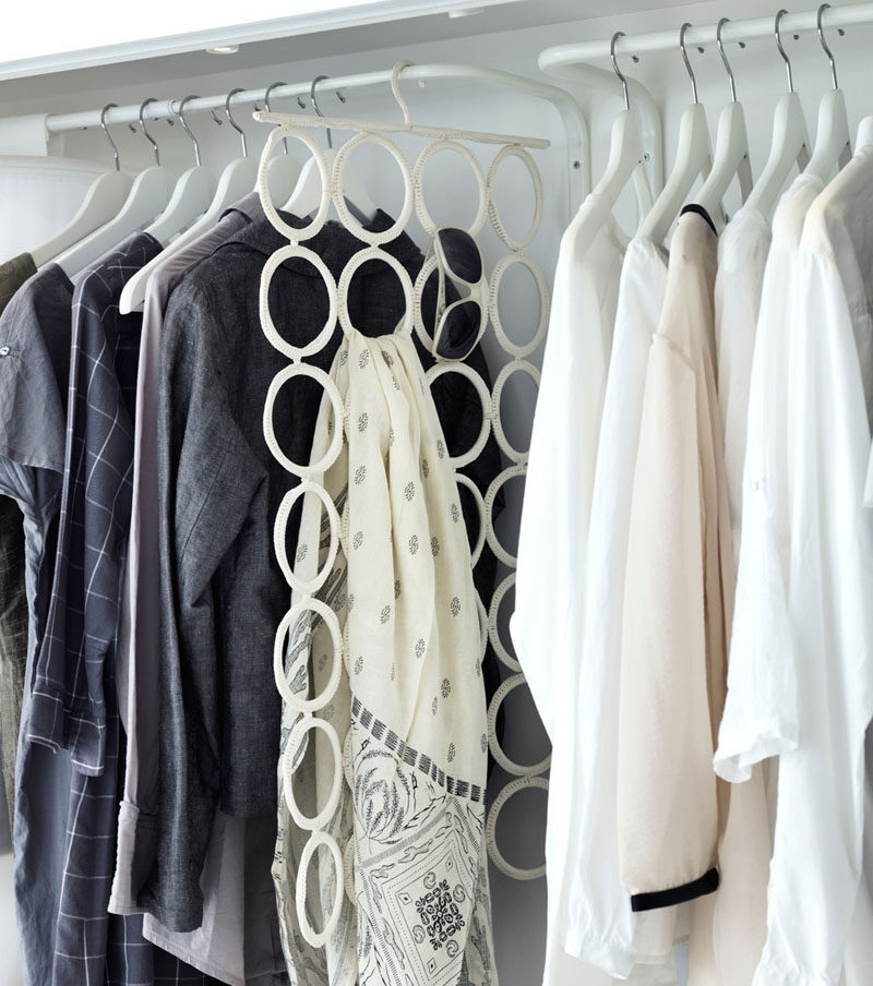 9 Storage Ideas For Small Closets // Scarves and sunglasses can be kept on hangers like this Ikea one, freeing up space in boxes or bins for the things that can't be hung.