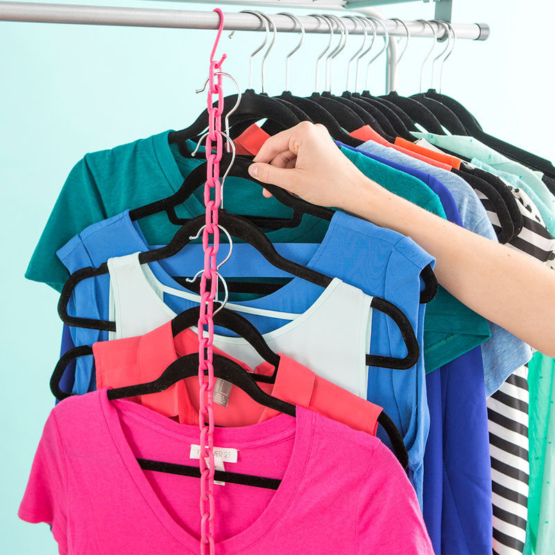 9 Storage Ideas For Small Closets // This chain hack can get you tons of extra hanging space and only takes up the space of a single item.