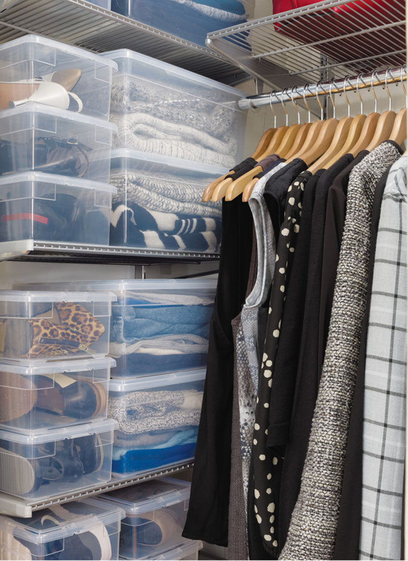 9 Storage Ideas For Small Closets // Add some boxes and bins. This is a great way to store things you need but don't use often enough to keep them out in the open. Bonus points if you label the box with what's in there!