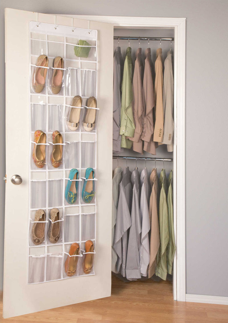 9 Storage Ideas For Small Closets // Use every single inch available. That includes the door! Hang baskets and attach hooks to maximize the space in your closet even more.