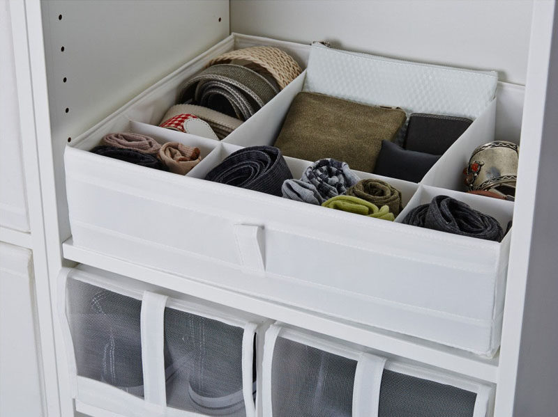9 Storage Ideas For Small Closets // Why stop at just adding a shelf or drawer when you could add an organizing bin to it so you can get even more space to put things!